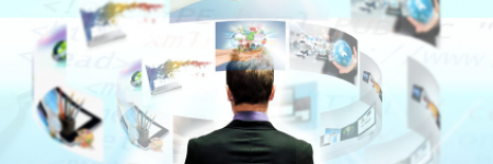 man with a swirl of pic of business ideas swirling around his head