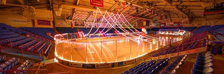 1ST SUMMIT Arena decorated with white lights