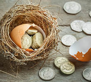 nest egg with broken egg filled with coins from estimating retirement income