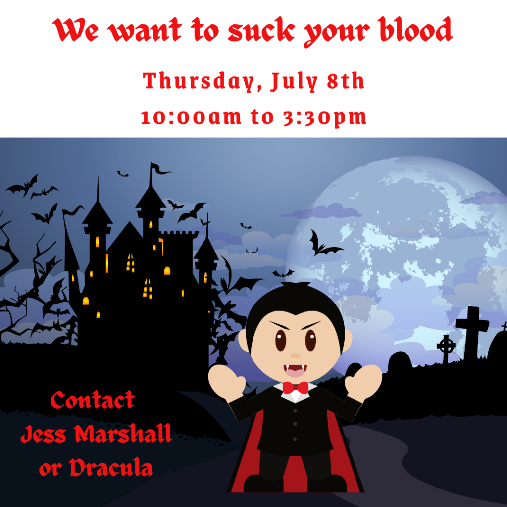 cartoon dracula in front of a spooky house talking about the blood drive