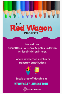 1ST SUMMIT BANK Red Wagon Project sign to collect school supplies for kids