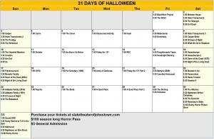calendar of 31 days of Halloween movies at the State Theater in Johnstown